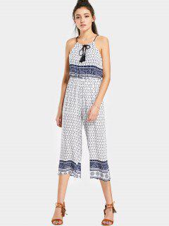 Printed Cami Capri Jumpsuit - White L