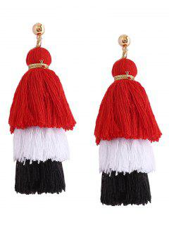 Layered Tassel Earrings - Red