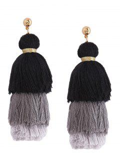 Layered Tassel Earrings - Black