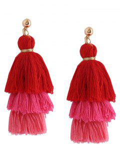 Layered Tassel Earrings - Rose Red