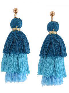 Layered Tassel Earrings - Blue