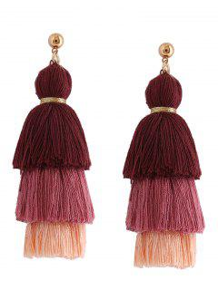 Layered Tassel Earrings - Brown