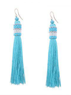 Vintage Tassel Beaded Hook Earrings - Light Blue