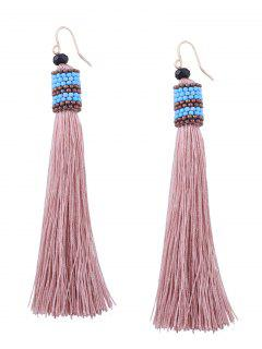 Vintage Tassel Beaded Hook Earrings - Light Pink