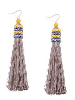 Vintage Tassel Beaded Hook Earrings - Light Gray