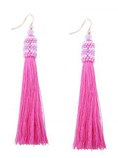 Vintage Tassel Beaded Hook Earrings - Rose Red
