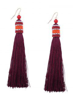 Vintage Tassel Beaded Hook Earrings - Wine Red