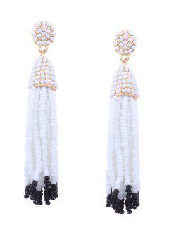 Statement Beaded Tassel Earrings - White