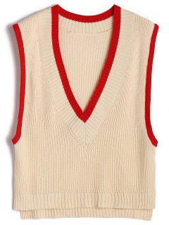 Two Tone Plunging Neck Sweater Vest - Apricot