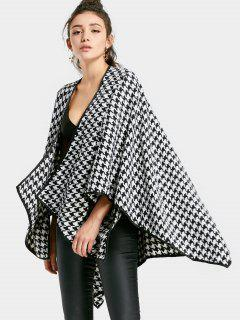 Houndstooth Asymmetric Cardigan - Black White