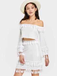 Off Shoulder Tassels Top With Skirt Set - White M