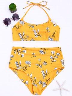 Plus Size Floral High Waisted Bikini Set - Yellow 4xl
