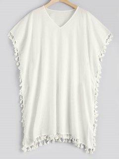 Tassel Kaftan Cover-up Dress - Blanc
