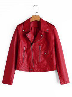Asymmetrical Zipper Faux Leather Jacket - Red M