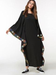 Vestido árabe Maxi Bordado De La Manga De La Mariposa - Negro