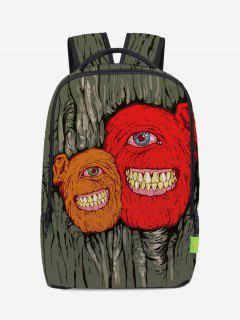 Canvas Zips Monster Backpack - Red And Orange