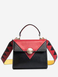 Color Blocking Geometric Faux Leather Crossbody Bag - Red