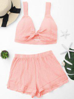 Cut Out Crop Top And Shorts Set - Orangepink L