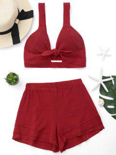 Cut Out Crop Top And Shorts Set - Red L