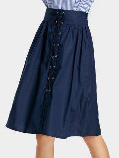 Lace Up High Waist Flare Skirt - Deep Blue M