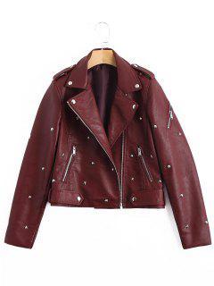 Asymmetric Zipper Rivet Embellished Faux Leather Jacket - Wine Red S