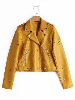 Asymmetric Zipper Rivet Embellished Faux Leather Jacket - Ginger M