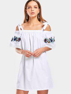 Embroidered Lace Trim Cold Shoulder Mini Dress - White L