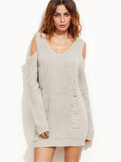 Ripped Cold Shoulder Mini Sweater Dress - Gray L