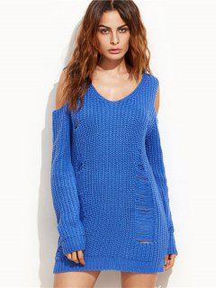 Ripped Cold Shoulder Mini Sweater Dress - Royal M