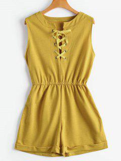 Lace Up Sans Manches Romper - Curcumae Xl