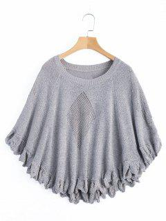 Hollow Out Knitted Top - Gray