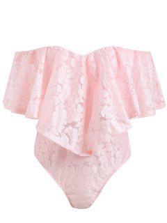 Aus Der Schulter Frill Lace Badeanzug - Pink S