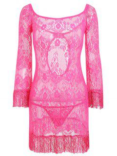 Lace Sheer Backless Babydoll Mit Fransen - Tutti Frutti M