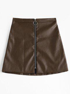 Zip Front Faux Leather A Line Skirt - Brown M