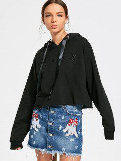 Metal Ring Embroidered Hoodie - Black