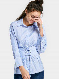 Button Up Lace Up Striped Shirt - Light Blue M