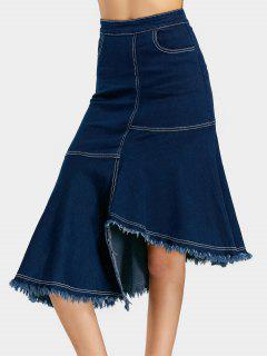 Frayed Hem Asymmetric Denim Skirt - Deep Blue L