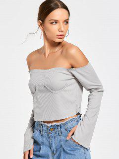 Textured Off Shoulder Cropped T-shirt - Gray S