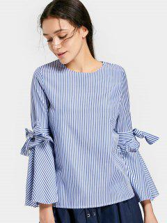 Blusa De Rayas Con Cuello Redondo Bowknot - Azul L