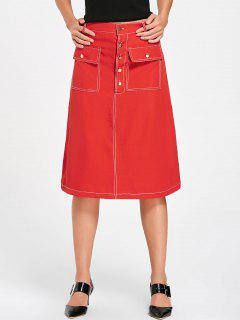 Knee Length Front Buttons Skirt - Red S