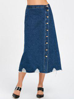 Ripped Front Buttons Denim Skirt - Denim Blue M