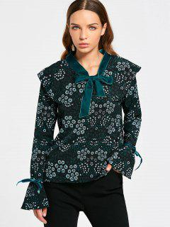 Tiny Floral Tie Neck Blouse - Black And Green S