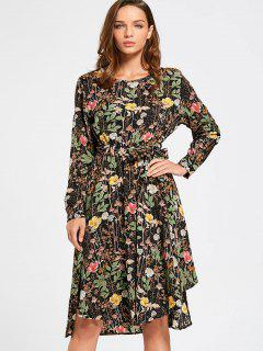 Long Sleeve Tiny Floral Belted Dress - Black