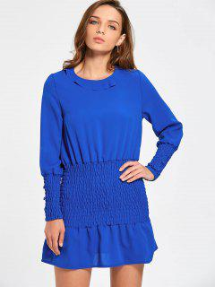 Long Sleeve Smocked Mini Dress - Royal Xl
