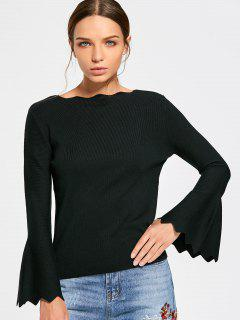 Scalloped Boat Neck Flare Sleeve Knitwear - Black