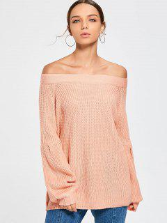 Puff Sleeve Off Shoulder Sweater - Light Pink