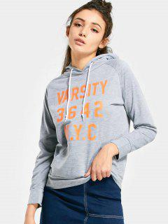 Front Pocket Letter Graphic Drawstring Hoodie - Gray Xl