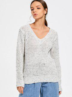 Colormix V Neck Pullover Sweater - Grey White