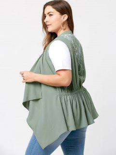 Plus Size Lace Insert Waterfall Wasitcoat - Pea Green 4xl