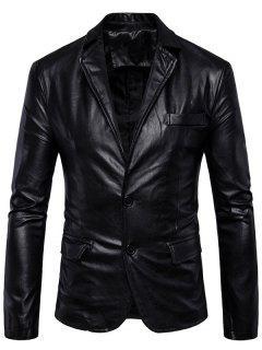 Single Breasted Lapel Faux Leather Blazer - Black 4xl